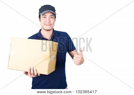 Smiling Handsome Asian Delivery Man Giving And Carrying Parcel On White Background
