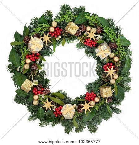 Christmas wreath with gold bauble decorations, holly, ivy, mistletoe and winter greenery over white background. poster