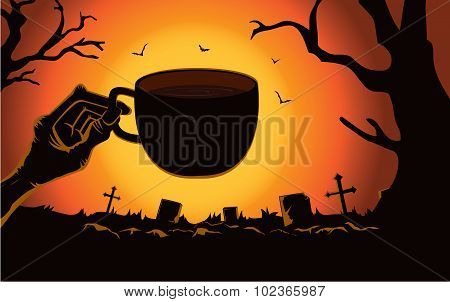 Zombie hand holding coffee cup at the cemetery.