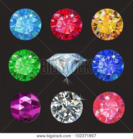 Set of colored gems isolated on dark background, vector illustration poster