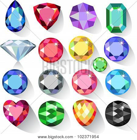 Flat style long shadow set of colored gems