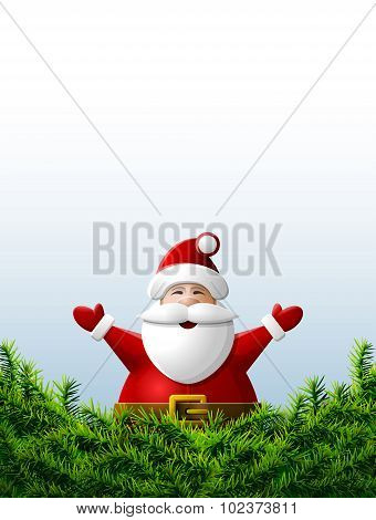 Santa Claus With His Hands Up Is Behind Pine Branches