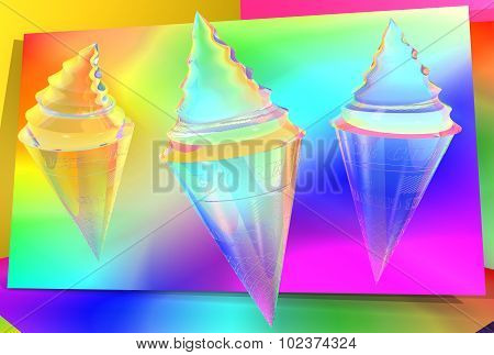 abstract an ice cream cone transparent colors against the bright psychedelic background, the tube has an inscription and corrugations poster