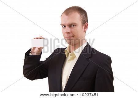 Businessman Holding Visit Card