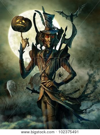 Spirit Of Halloween On The Cemetery