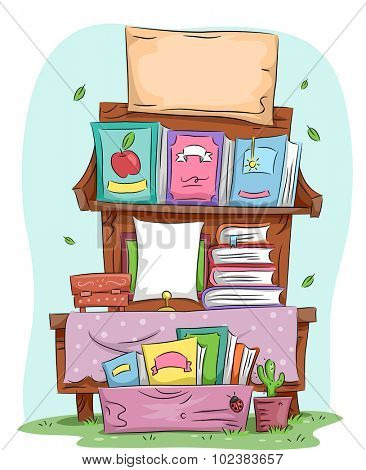 Illustration of a Yard Sale Selling Assorted Books