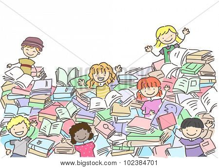 Stickman Illustration of Kids Playing Around a Big Pile of Books