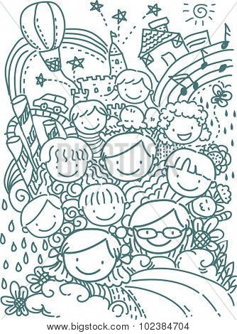 Stickman Illustration of Happy School Kids Set Against a Whimsical Background