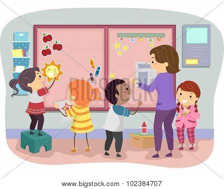 Stickman Illustration of Kids Decorating a Bulletin Board