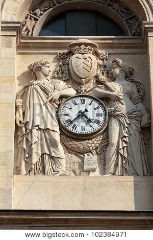 PARIS, FRANCE - SEPTEMBER 8, 2014: Fragment of facade of the Chapelle de la Sorbonne in Paris France