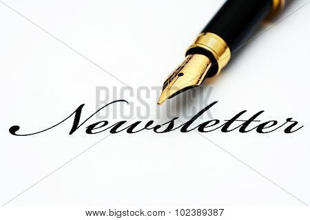 Fountain Pen On Newsletter