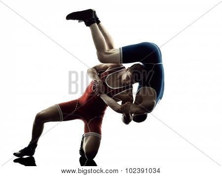 two caucasian wrestlers wrestling men on isolated silhouette white background poster