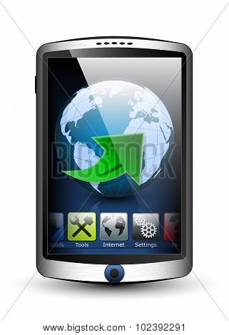 Smartphone With Menu And Internet Icon On The Big Touch Screen. Vector Illustration