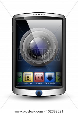 Smartphone With Menu And Camera Icon On The Big Touch Screen. Vector Illustration