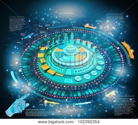 space background or hightech futuristic interface infographic with hand pointer HUD and GUI
