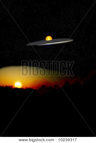Ufo In The Night Over Clouds