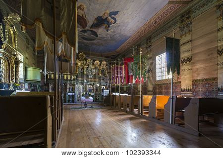 Old Wooden Orthodox Church Interior, Nowica, Poland