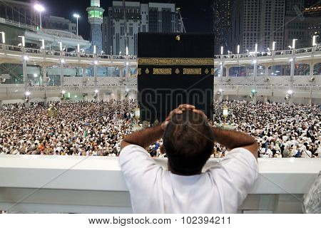 Muslim Praying In  Kaaba Makkah