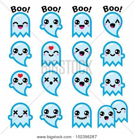 Kawaii cute ghost for Halloween blue icons set