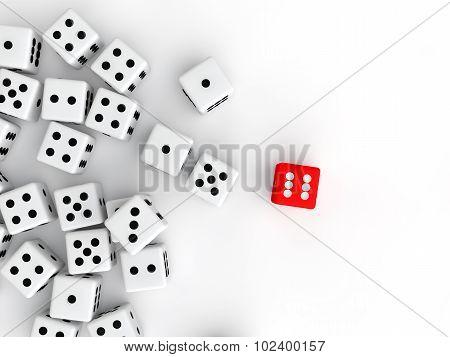 3d red unique dice in white dices