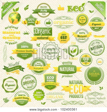 Collection Vector Organic Food, Eco, Bio Labels and Elements. Logo elements for Food and Drink. Restaurants and Organic Products Vector Illustration