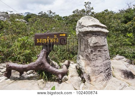 Penis Shaped Stone Named Mor Hum Tang In Thai At Pa Hin Ngam National Park