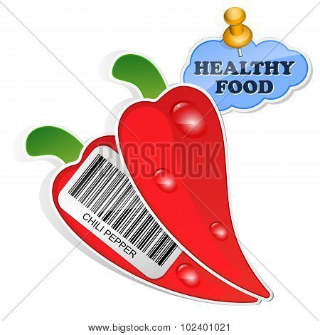Chili Pepper Icon With Barcode And Healthy Food Sticker. Vector Illustration