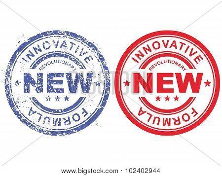 Grunge rubber stamp with inscription revolutionary new innovative formula