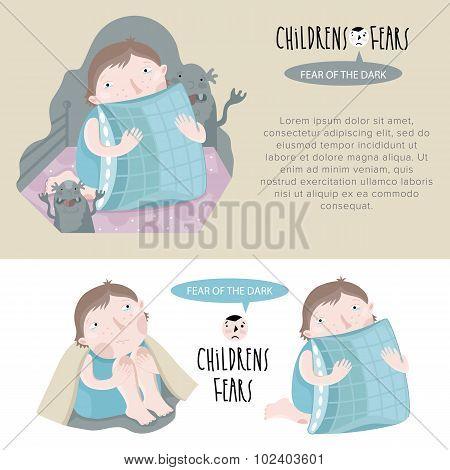 Children's fears. Fear of the dark. Vector illustration. poster