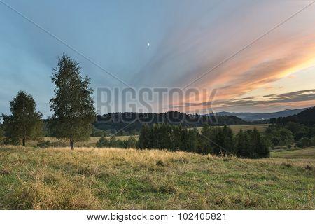 Sundown Landscape In Sudety Mountains
