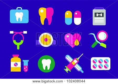 Medicine vector icons set. Doctors tools for health care