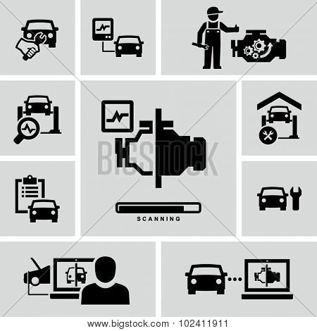 Car Engine Diagnostics Auto Mechanic Repair Vector Icons