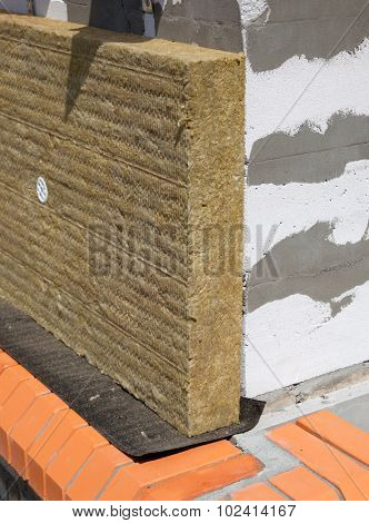 Wall of Bricks and Insulation Wool poster