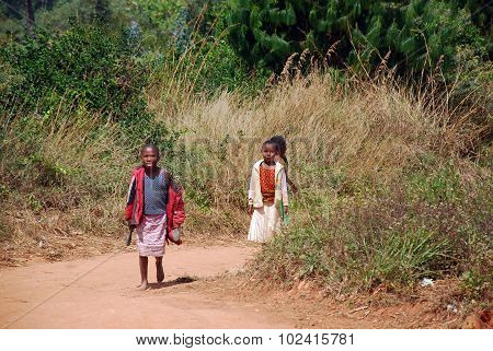 African Children On The Dirt Road To Kilolo In Tanzania Africa