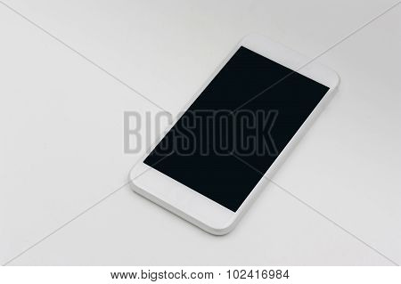 Smart Phone In White Color With Blank Screen