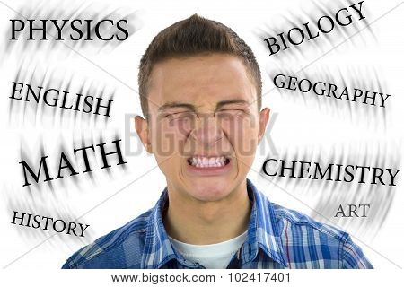 Teenager Under Severe Stress From Studying