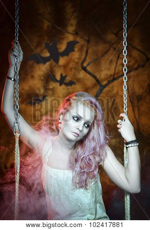 Sad Dead Woman In Halloween Style