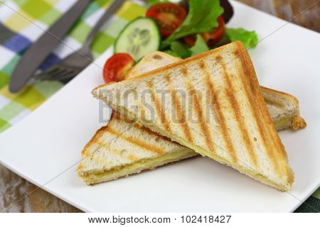 Toast with cheese and green salad, closeup poster