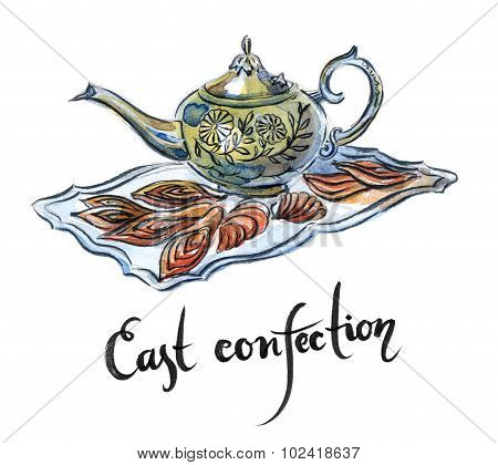 Watercolor east confection hand drawn - Illustration poster