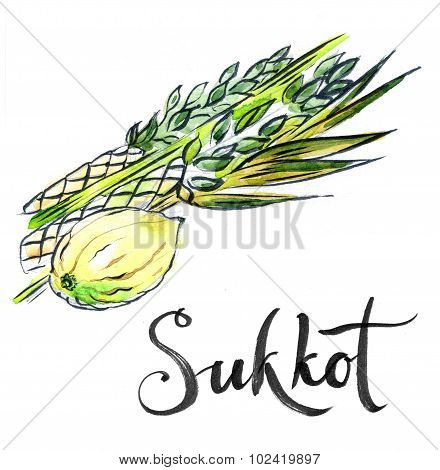 Watercolor Lulav And Etrog, Sukkot Plants