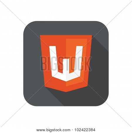 Vector web development shield sign - html5 W letter. isolated icon on white