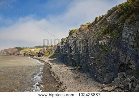 World famous fossil cliffs on the Bay of Fundy, at Joggins, Nova Scotia, Canada. A UNESCO World Heritage Site. poster