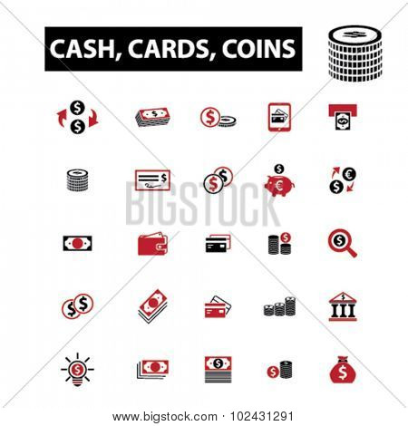 money, cash, cards, coins icons