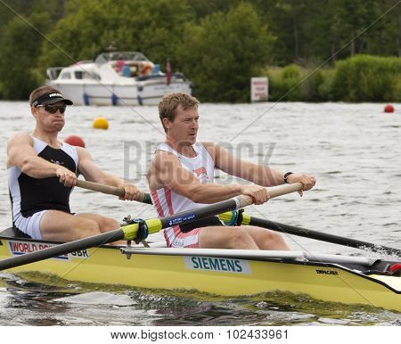 HENLEY, ENGLAND. 01-07-2010. C.F. Nichol and T.F. Burton in action on day 2 of the Henley Royal Regatta 2010 held on the River Thames.