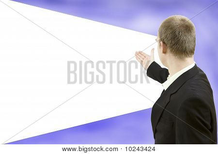 Businessman Showing Empty Screen