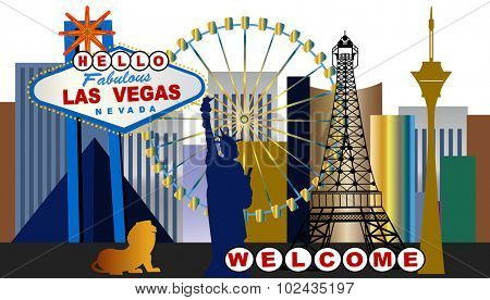 HELLO Las Vegas - Word Hello on Las Vegas Sign - lots of separate elements - Word Welcome below