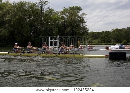 HENLEY, ENGLAND. 01-07-2010. The race starts between The University of Queensland and The Tideway Scullers on day 2 of the Henley Royal Regatta 2010 held on the River Thames.