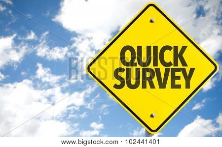 Quick Survey sign with sky background poster
