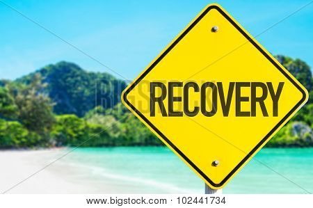 Recovery sign with beach background poster