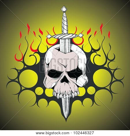 Hand Drawn Skull Slain By A Sword. The Symbol Day Of The Dead